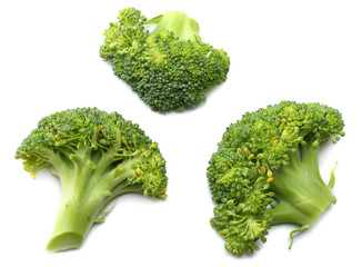 green broccoli isolated on white background. top view