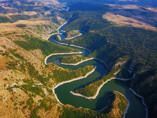 Aerial view of mountain river Uvac in Serbia