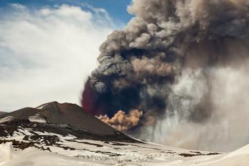Erupting Etna volcano, Nicolosi, Sicily, Italy