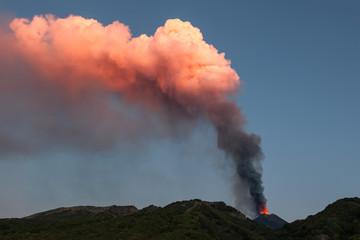 Etna volcano, dawn of the 14th paroxysm event of 2013 photographed from Piano del Vescovo, Zafferana, Sicily, Italy