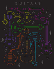 Neon colors on a black background guitar illustration. for print or web