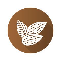 Almond flat design long shadow glyph icon