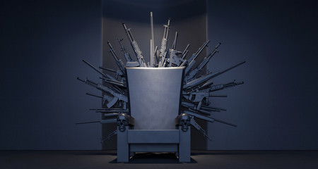 Throne made from weapons 3D Rendering