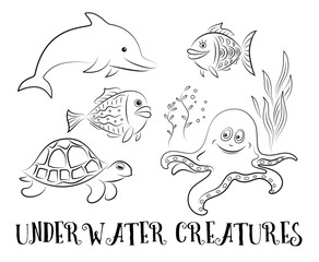 Sea Creatures Set, Cartoon Dolphin, Fish, Turtle, Octopus and Algae Black Contours Isolated on White Background. Vector