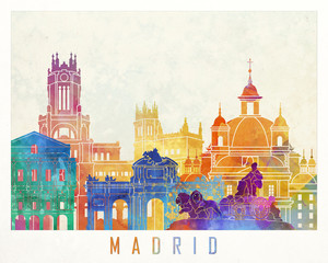Fototapete - Madrid landmarks watercolor poster