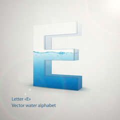 Vector water alphabet on gray background. Letter E. EPS 10 template for your art and advertisement