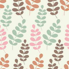 Seamless vector background with decorative branche and leaves. Pattern with plants. Textile rapport.