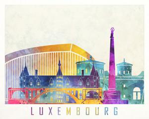 Fototapete - Luxembourg landmarks watercolor poster