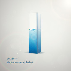 Vector water alphabet on gray background. Letter I. EPS 10 template for your art and advertisement