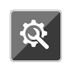 Schraubenschlüssel mit Zahnrad - Bearbeiten - Reflektierender App Button