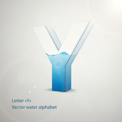 Vector water alphabet on gray background. Letter Y. EPS 10 template for your art and advertisement
