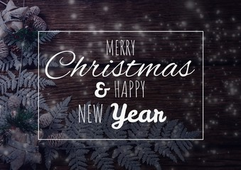 merry Christmas and happy new year text on Christmas background