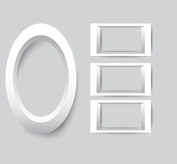 Set of white photo frames. Vector collection of blank photo frames on a gray background.
