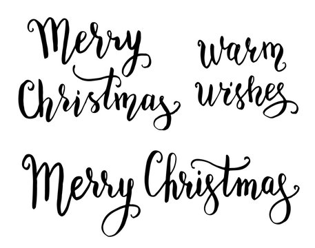 Merry Christmas and Warm wishes hand lettering quotes