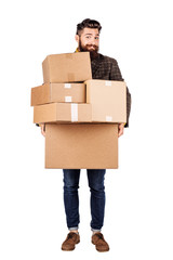 man holding the cardboard boxes, isolated on white background