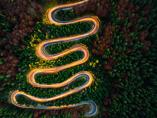 Aerial view of light trails on a winding road through the forest in fall