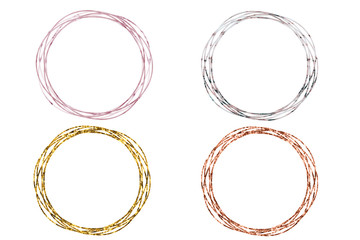 Set of four twisted gold circles isolated on white.