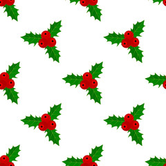 Christmas holly, seamless pattern.