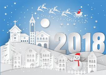 Winter season with snowflake. Vector illustration of Merry Christmas, paper art design in the box