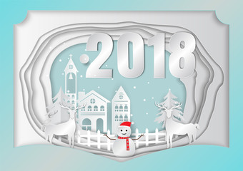 Paper art carving of Merry Christmas 2018 background with deer and Snowman, vector illustration