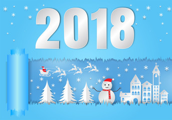 Paper art style, winter holiday with santa claus and snowman background. Christmas season 2018. vector illustration