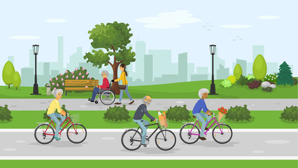 Active seniors in the City park. Seniors people cycling outdoor. Woman walking with senior man in a wheelchair in the city park. Vector illustration.
