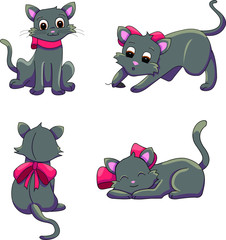 Various cat positions. Black cat vector illustration collection.