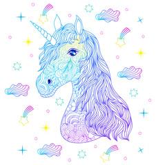 Head of hand drawn unicorn.