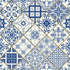 Traditional ornate portuguese decorative tiles azulejos. Vintage pattern. Abstract background. Vector hand drawn illustration