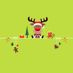 Wall Mural - Sitting Christmas Reindeer & Symbols Light Green