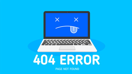 404  error not found page flat design with blue  background vector design