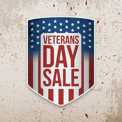 Veterans Day Sale Banner on grunge Background