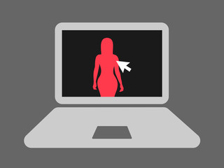 Porn, pornography and pornographic content on the computer. Silhouette of sexy and attractive woman is on the screen of the laptop