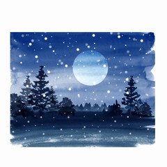 Winter watercolor landscape with moon, forest and snow 6