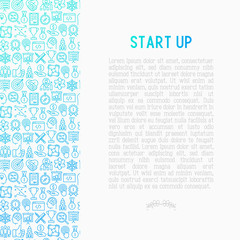 Start up concept with thin line icons of development, growth, success, idea, investment. Vector illustration for banner, web page, print media with place for text inside.