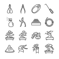 Bonsai line icon set. Included the icons as Juniper, containers, bending, wire, spray, tools and more.