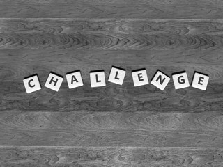 Challenge - wooden scrabbles on a table - word - 3d render