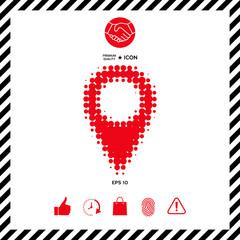 Map pointer halftone logo