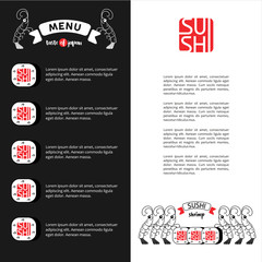 Logo shrimp sushi. Menu template for restaurant of Japanese cuisine.
