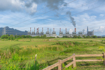 landscape view of Maemoh power plant with green nature and day blue sky
