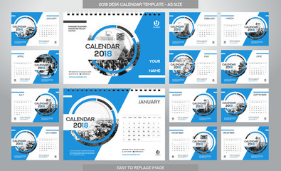 Desk Calendar 2018 template - 12 months included - A5 Size