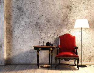 Rustikale Sitzecke vor Betonwand mit Lederstuhl (rot)