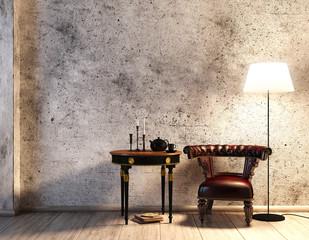 Rustikale Sitzecke vor Betonwand mit Lederstuhl (braun)