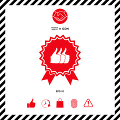 Three symbols Thumb Up Gesture - label with ribbons. Thumb up icon - the highest score, the best choice, the highest rating