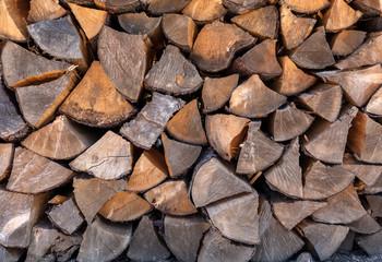 Closeup of firewoods stack texture.