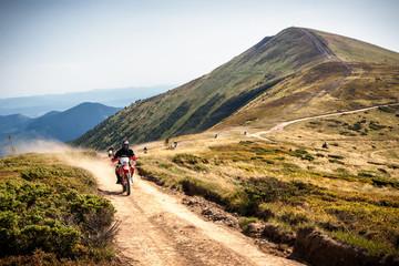 Enduro bikers crossing road in Carpathian mountains.