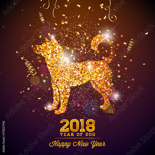 2018 chinese new year illustration with bright symbol on shiny celebration background year of dog