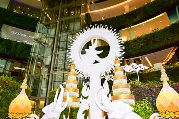 07.10.2017 Decorated with marigold  at siam Paragon Bangkok Thailand.( editorial)