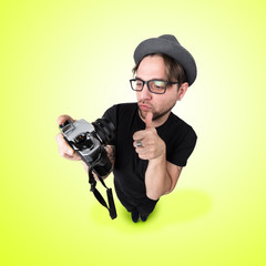 Funny Man with hat and photocamera selfie laugh looks like caricature