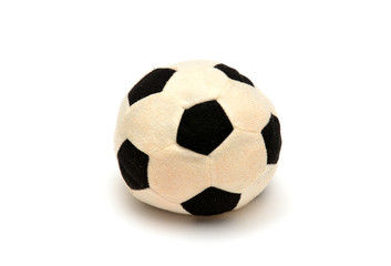 Soft textile soccer ball on white background